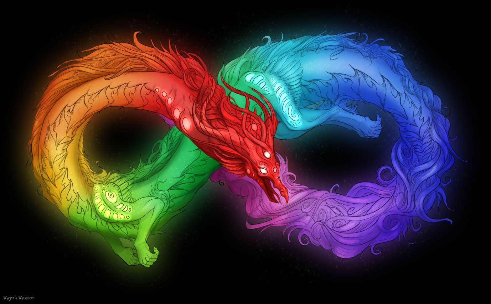 A dragon in the shape of an infinity symbol that is rainbow coloured like the neurodiversity symbol
